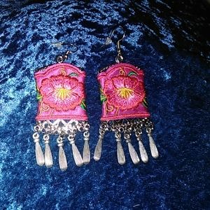 Embroidered Purplish Pink Mexican Earrings
